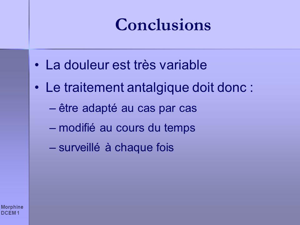 Morphine DCEM 1 Conclusions La douleur est très variable Le traitement antalgique doit donc : –être adapté au cas par cas –modifié au cours du temps –