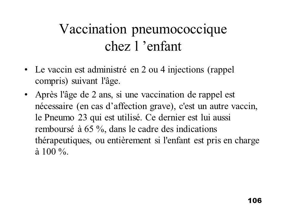 106 Vaccination pneumococcique chez l enfant Le vaccin est administré en 2 ou 4 injections (rappel compris) suivant l'âge. Après l'âge de 2 ans, si un