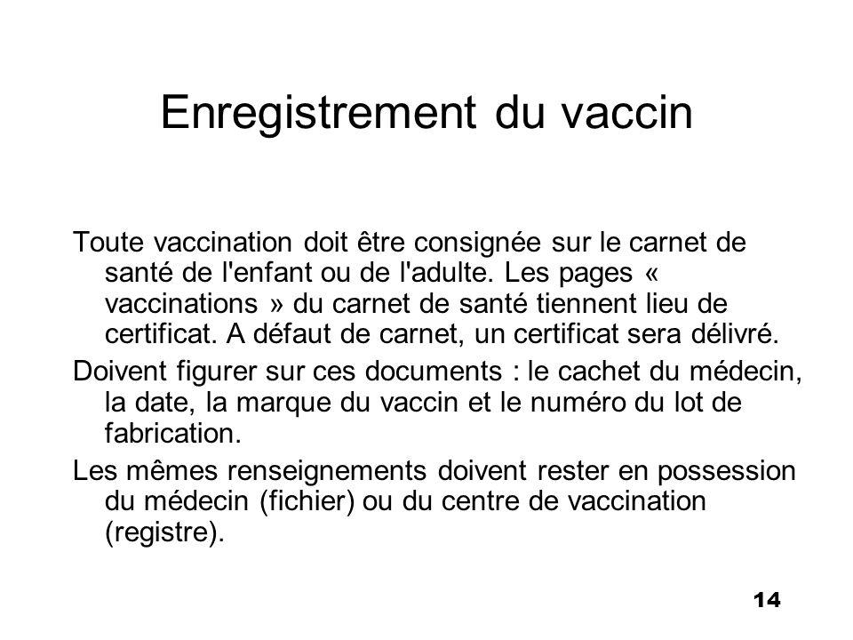 14 Enregistrement du vaccin Toute vaccination doit être consignée sur le carnet de santé de l'enfant ou de l'adulte. Les pages « vaccinations » du car