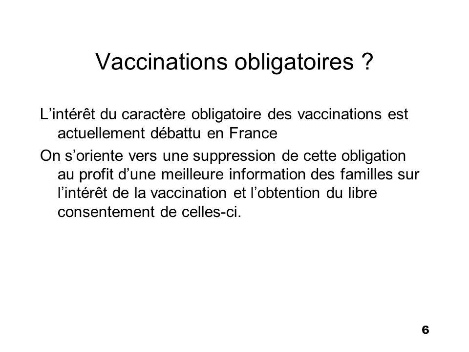 6 Vaccinations obligatoires ? Lintérêt du caractère obligatoire des vaccinations est actuellement débattu en France On soriente vers une suppression d