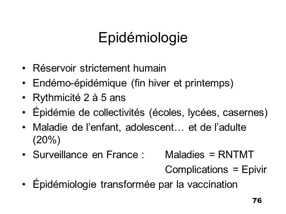 76 Epidémiologie Réservoir strictement humain Endémo-épidémique (fin hiver et printemps) Rythmicité 2 à 5 ans Épidémie de collectivités (écoles, lycée