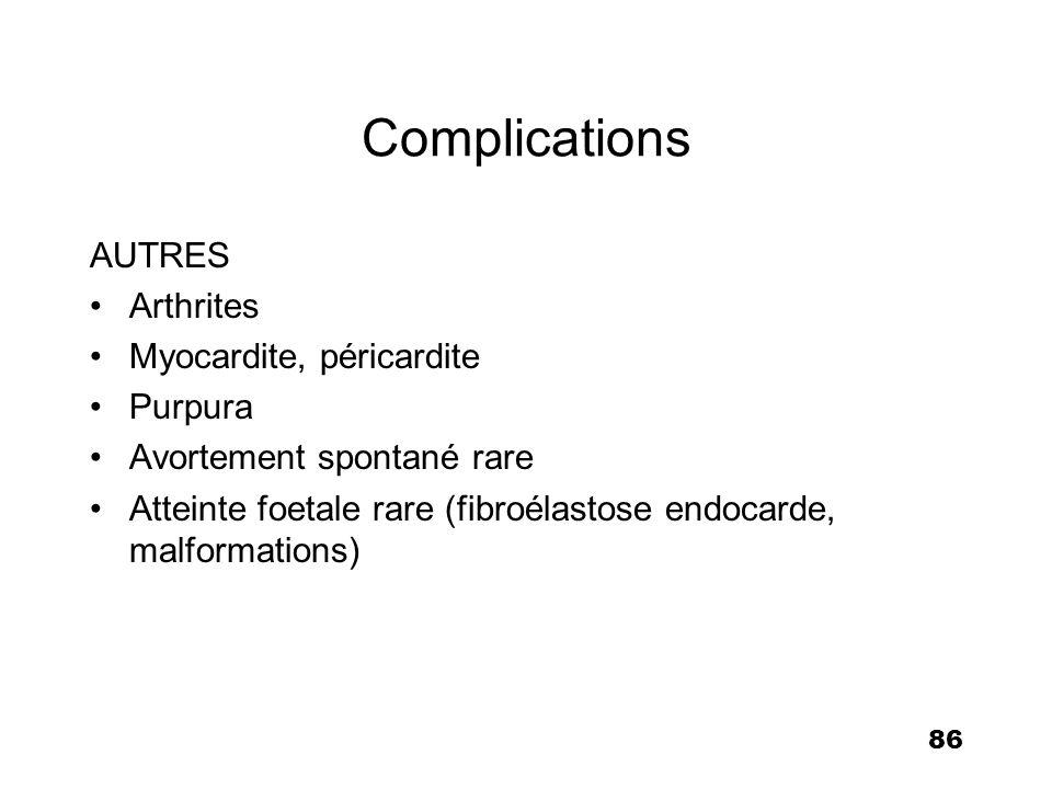 86 Complications AUTRES Arthrites Myocardite, péricardite Purpura Avortement spontané rare Atteinte foetale rare (fibroélastose endocarde, malformatio