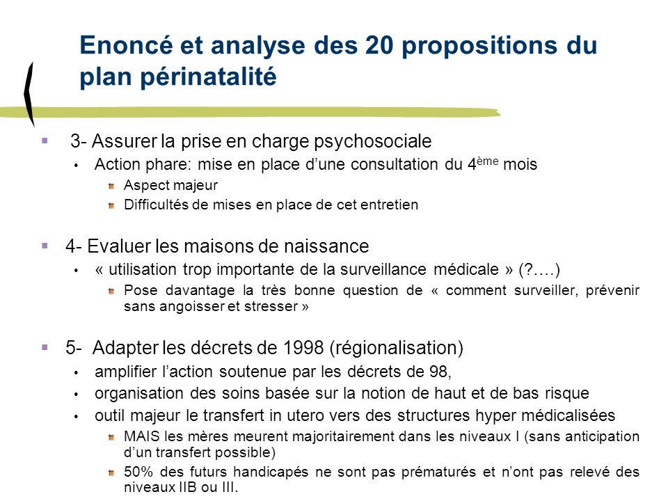 Enoncé et analyse des 20 propositions du plan périnatalité 3- Assurer la prise en charge psychosociale Action phare: mise en place dune consultation d