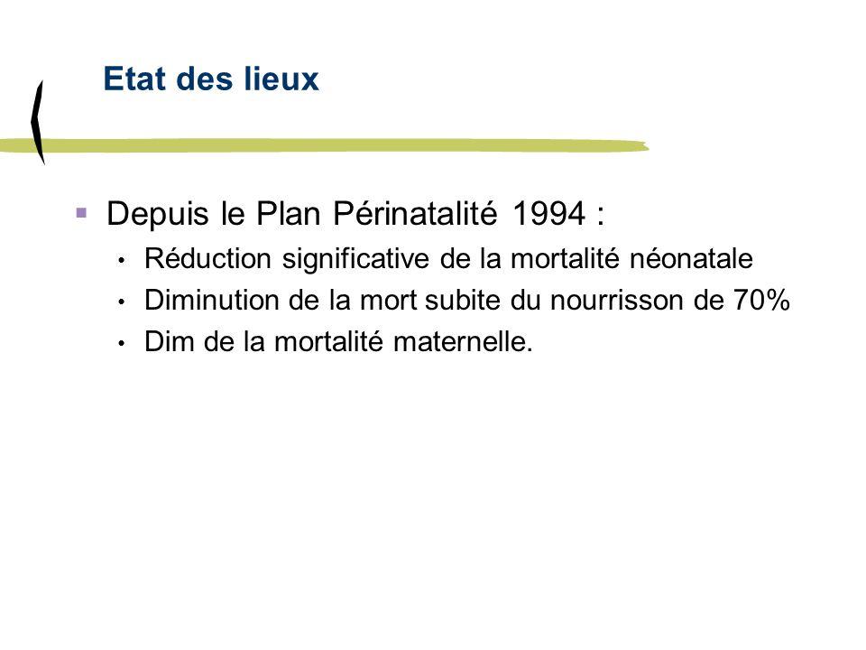 Etat des lieux Depuis le Plan Périnatalité 1994 : Réduction significative de la mortalité néonatale Diminution de la mort subite du nourrisson de 70%
