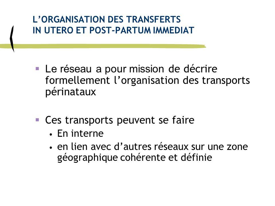 LORGANISATION DES TRANSFERTS IN UTERO ET POST-PARTUM IMMEDIAT Le réseau a pour mission de décrire formellement lorganisation des transports périnataux