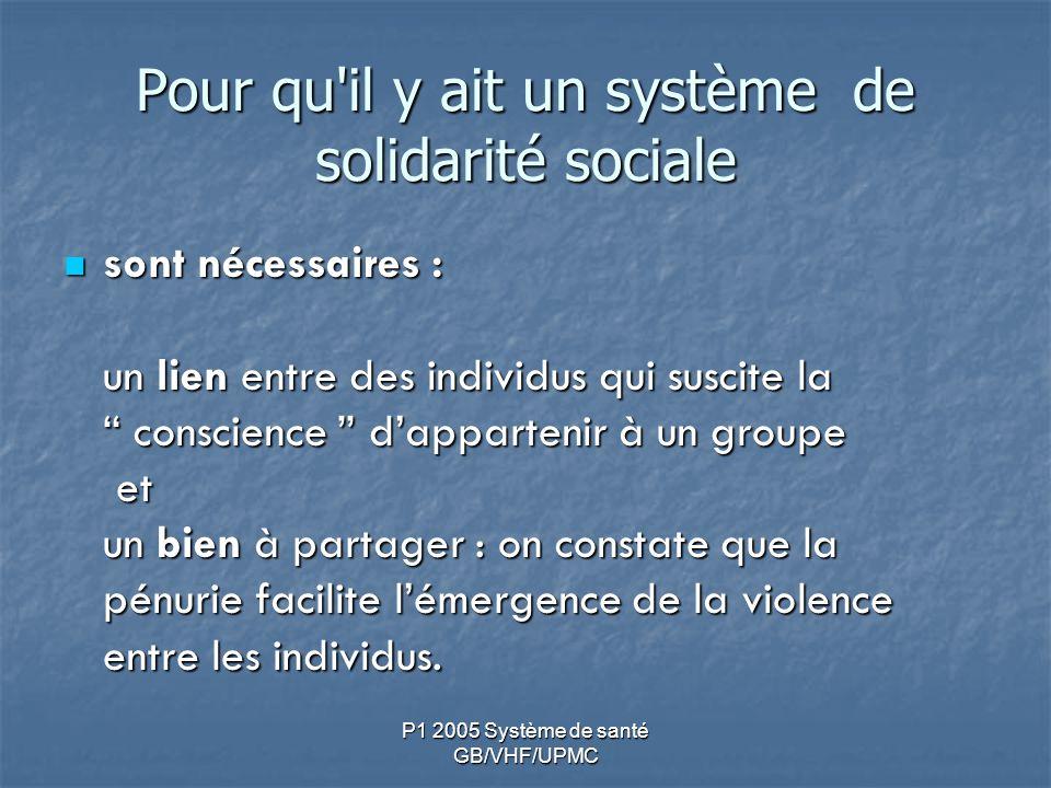 P1 2005 Système de santé GB/VHF/UPMC Pour qu il y ait un système de solidarité sociale sont nécessaires : un lien entre des individus qui suscite la conscience dappartenir à un groupe et un bien à partager : on constate que la pénurie facilite lémergence de la violence entre les individus.