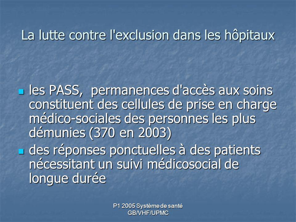 P1 2005 Système de santé GB/VHF/UPMC La lutte contre l'exclusion dans les hôpitaux les PASS, permanences d'accès aux soins constituent des cellules de