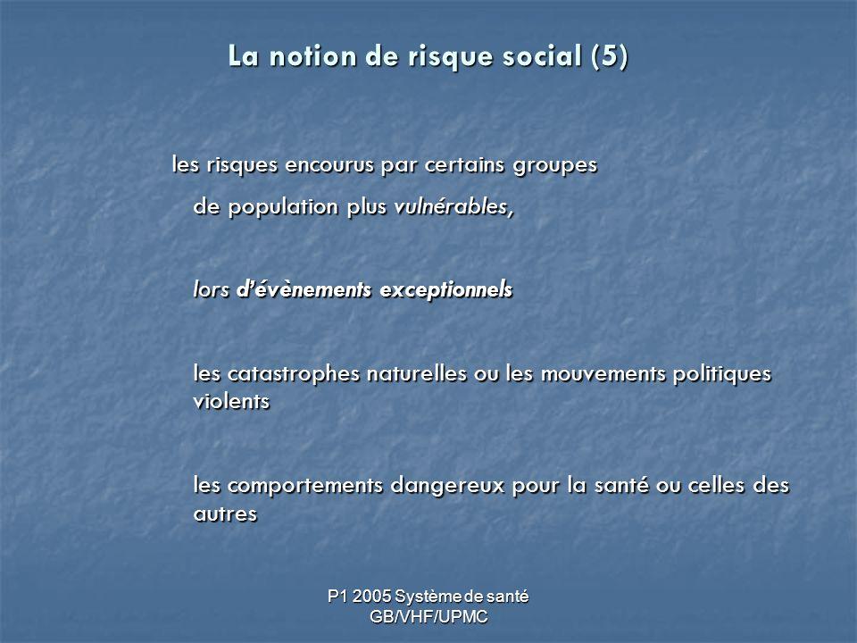 P1 2005 Système de santé GB/VHF/UPMC La notion de risque social (5) les risques encourus par certains groupes de population plus vulnérables, lors dévènements exceptionnels les catastrophes naturelles ou les mouvements politiques violents les comportements dangereux pour la santé ou celles des autres