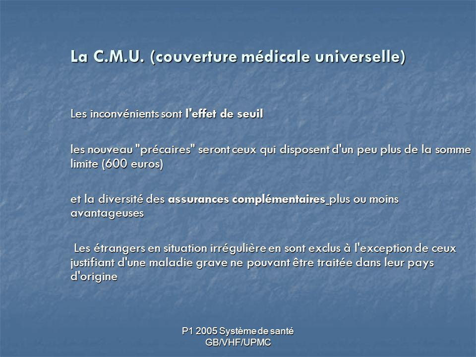 P1 2005 Système de santé GB/VHF/UPMC La C.M.U. (couverture médicale universelle) Les inconvénients sont l'effet de seuil les nouveau