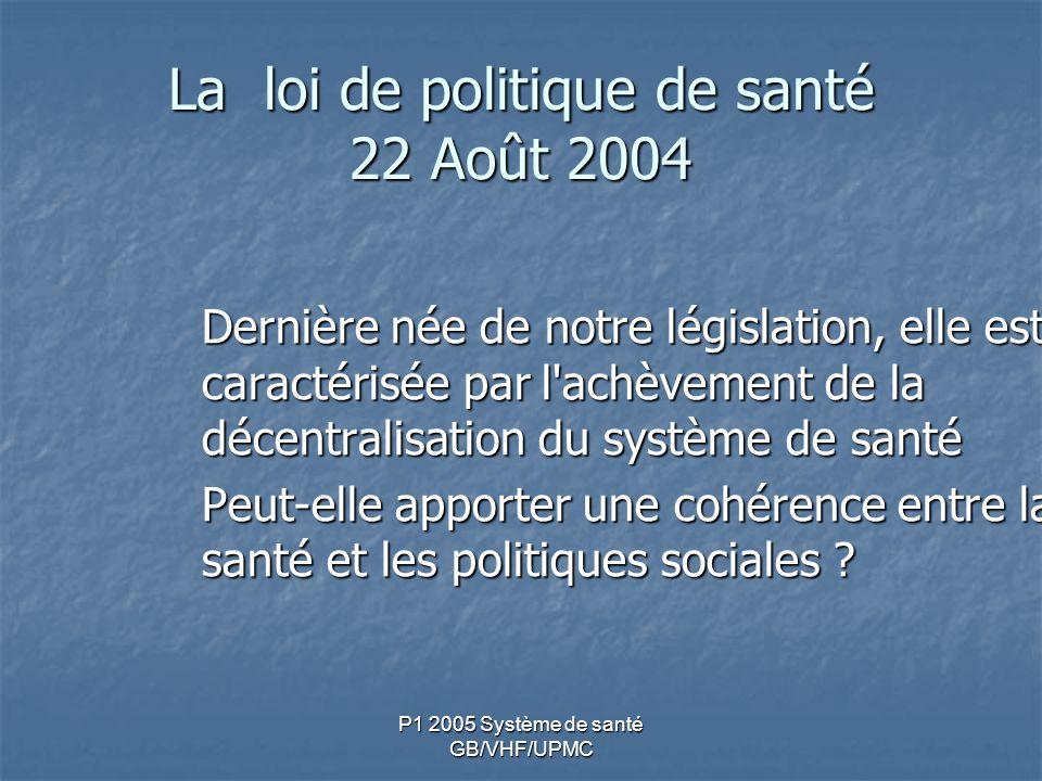P1 2005 Système de santé GB/VHF/UPMC La loi de politique de santé 22 Août 2004 Dernière née de notre législation, elle est caractérisée par l achèvement de la décentralisation du système de santé Peut-elle apporter une cohérence entre la santé et les politiques sociales ?