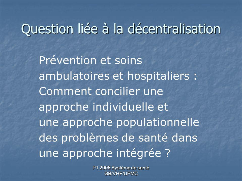 P1 2005 Système de santé GB/VHF/UPMC Question liée à la décentralisation Prévention et soins ambulatoires et hospitaliers : Comment concilier une appr