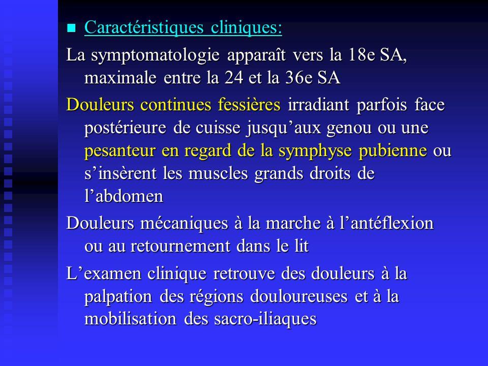 Caractéristiques cliniques: Caractéristiques cliniques: La symptomatologie apparaît vers la 18e SA, maximale entre la 24 et la 36e SA Douleurs continu