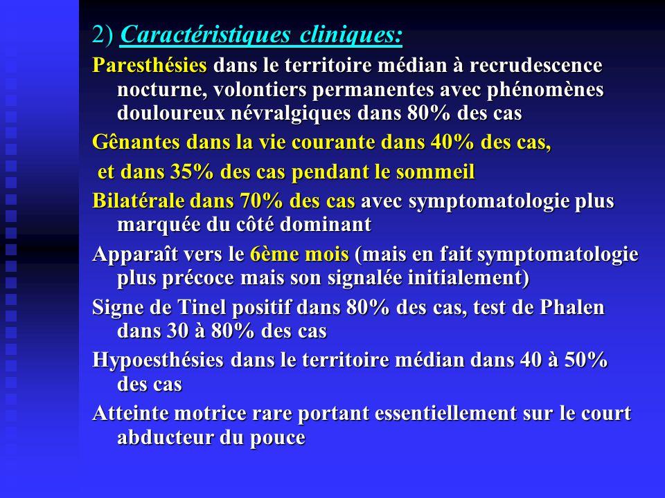 2) Caractéristiques cliniques: Paresthésies dans le territoire médian à recrudescence nocturne, volontiers permanentes avec phénomènes douloureux névr