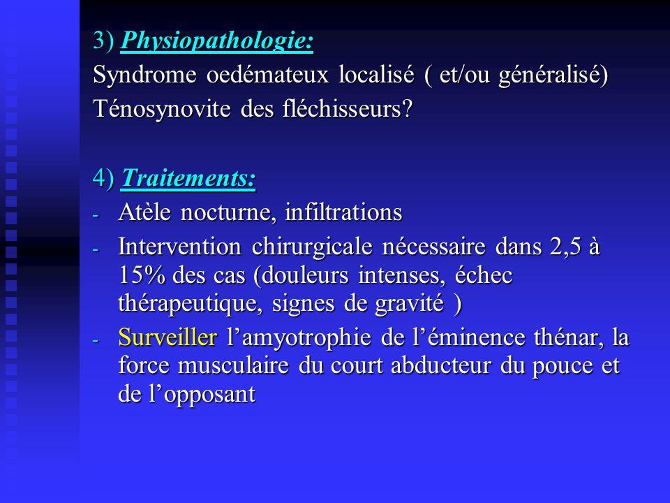 3) Physiopathologie: Syndrome oedémateux localisé ( et/ou généralisé) Ténosynovite des fléchisseurs? 4) Traitements: - Atèle nocturne, infiltrations -