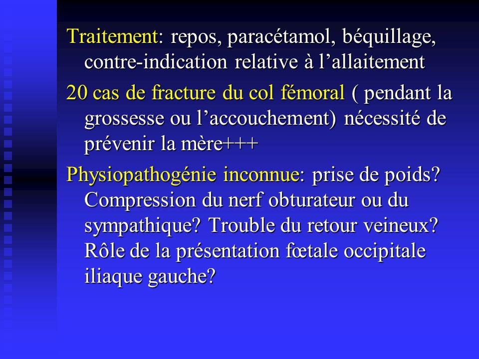 Traitement: repos, paracétamol, béquillage, contre-indication relative à lallaitement 20 cas de fracture du col fémoral ( pendant la grossesse ou lacc