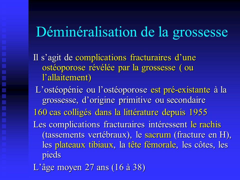 Déminéralisation de la grossesse Il sagit de complications fracturaires dune ostéoporose révélée par la grossesse ( ou lallaitement) Lostéopénie ou lo