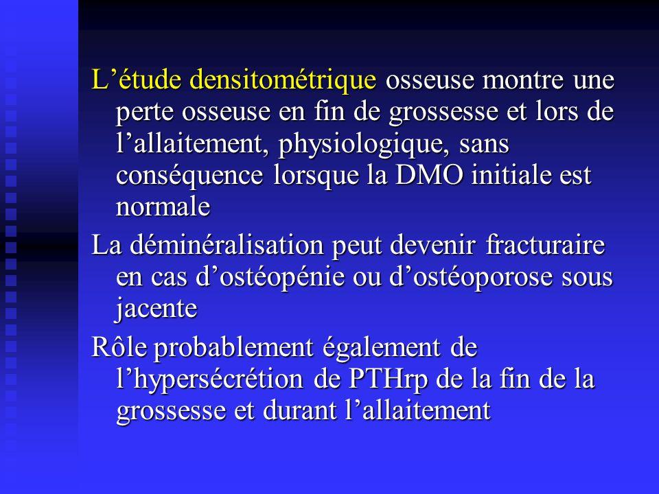 Létude densitométrique osseuse montre une perte osseuse en fin de grossesse et lors de lallaitement, physiologique, sans conséquence lorsque la DMO in