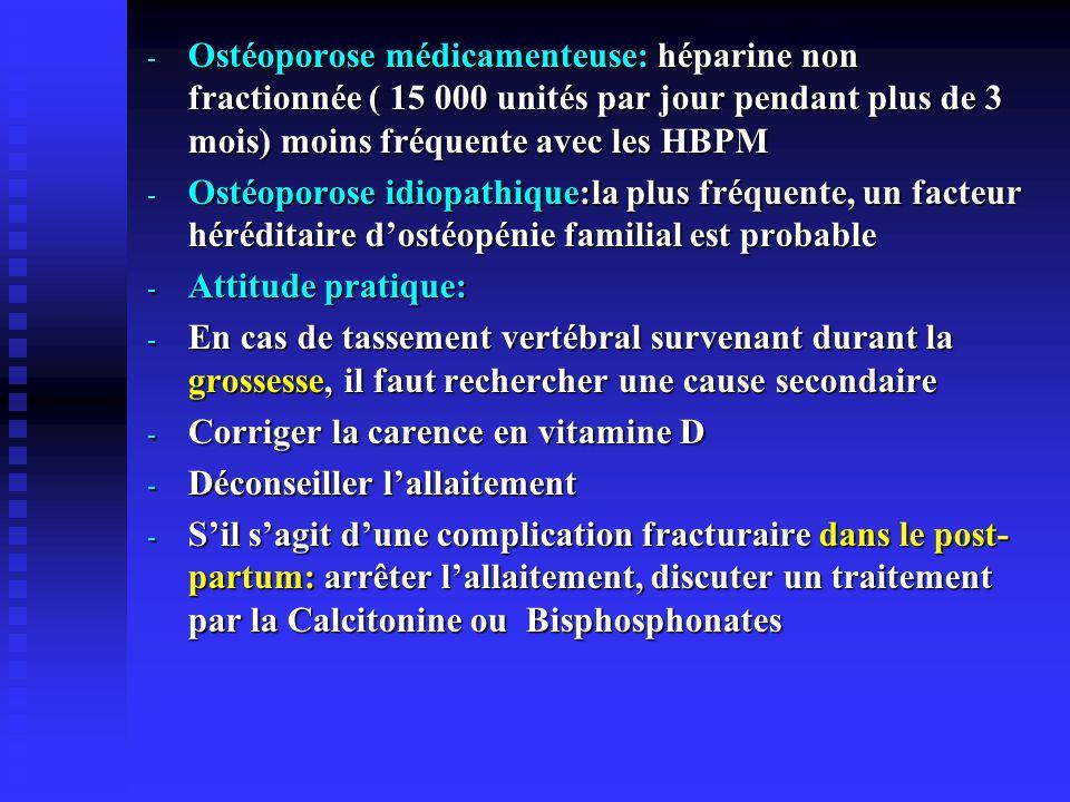 - Ostéoporose médicamenteuse: héparine non fractionnée ( 15 000 unités par jour pendant plus de 3 mois) moins fréquente avec les HBPM - Ostéoporose id