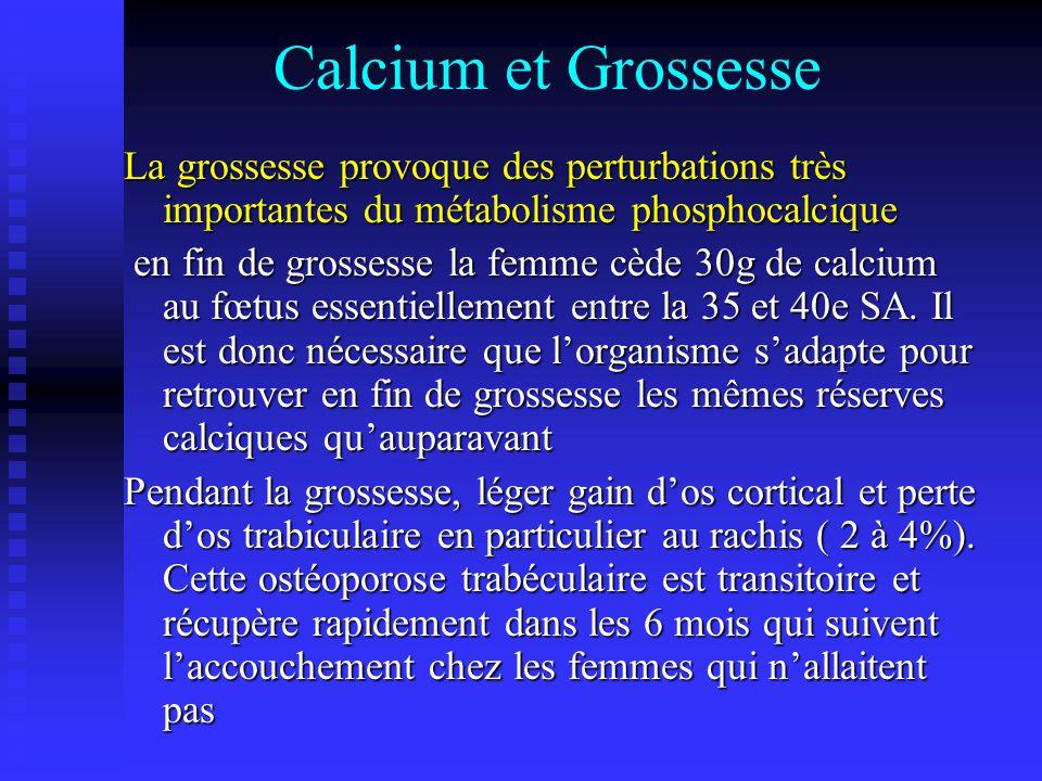 Calcium et Grossesse La grossesse provoque des perturbations très importantes du métabolisme phosphocalcique en fin de grossesse la femme cède 30g de