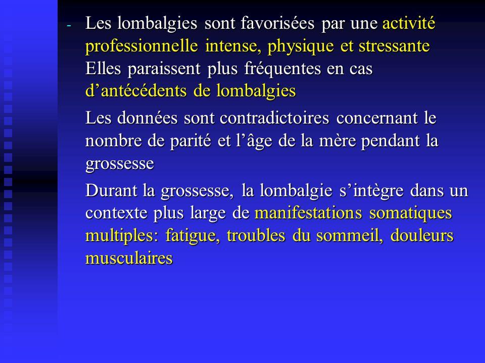 - Les lombalgies sont favorisées par une activité professionnelle intense, physique et stressante Elles paraissent plus fréquentes en cas dantécédents
