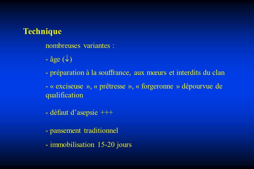 Technique nombreuses variantes : - âge ( ) - préparation à la souffrance, aux mœurs et interdits du clan - « exciseuse », « prêtresse », « forgeronne