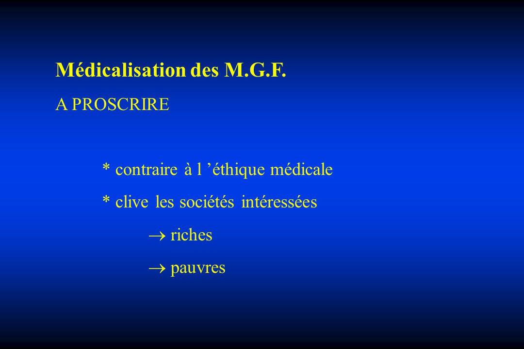 Médicalisation des M.G.F. A PROSCRIRE * contraire à l éthique médicale * clive les sociétés intéressées riches pauvres
