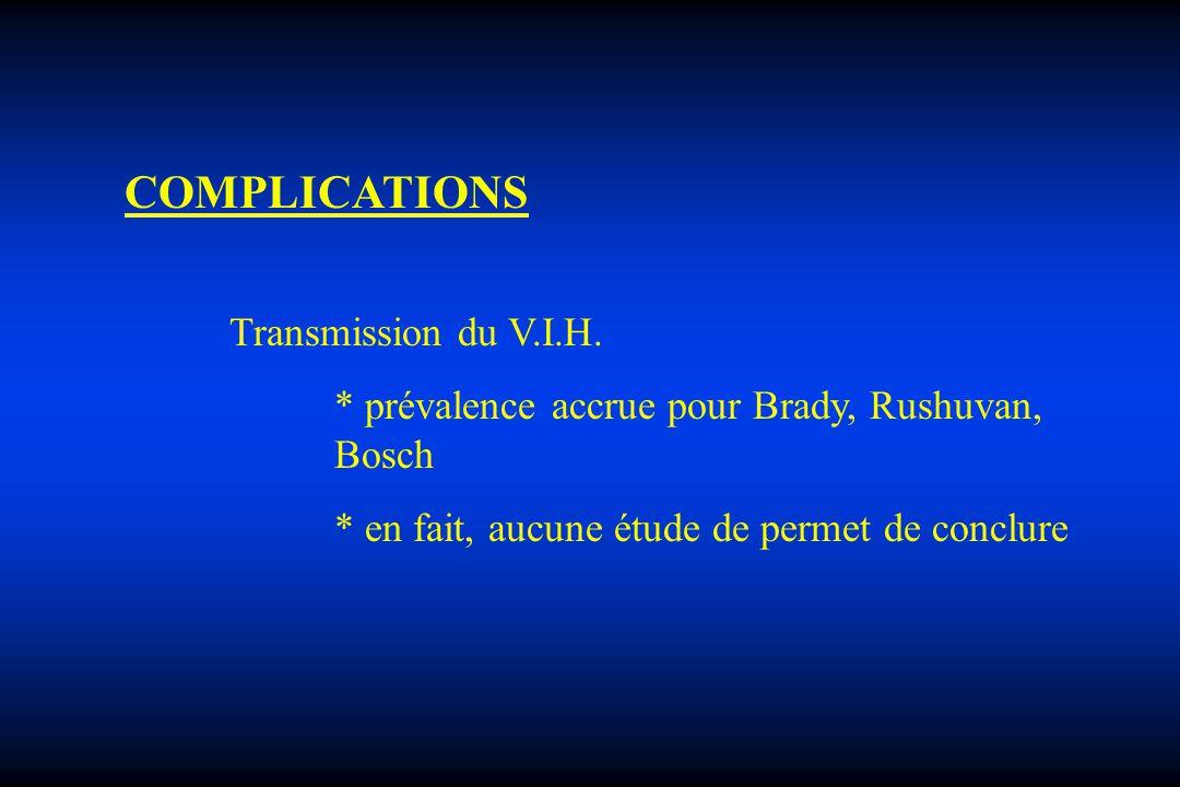COMPLICATIONS Transmission du V.I.H. * prévalence accrue pour Brady, Rushuvan, Bosch * en fait, aucune étude de permet de conclure