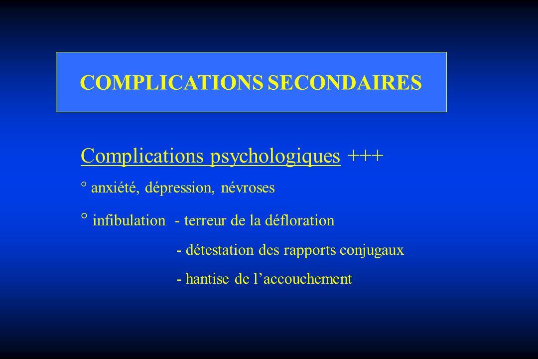 COMPLICATIONS SECONDAIRES Complications psychologiques +++ ° anxiété, dépression, névroses ° infibulation - terreur de la défloration - détestation de