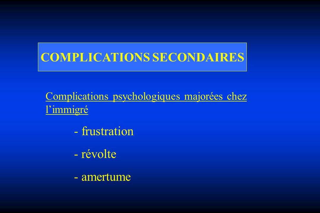 COMPLICATIONS SECONDAIRES Complications psychologiques majorées chez limmigré - frustration - révolte - amertume