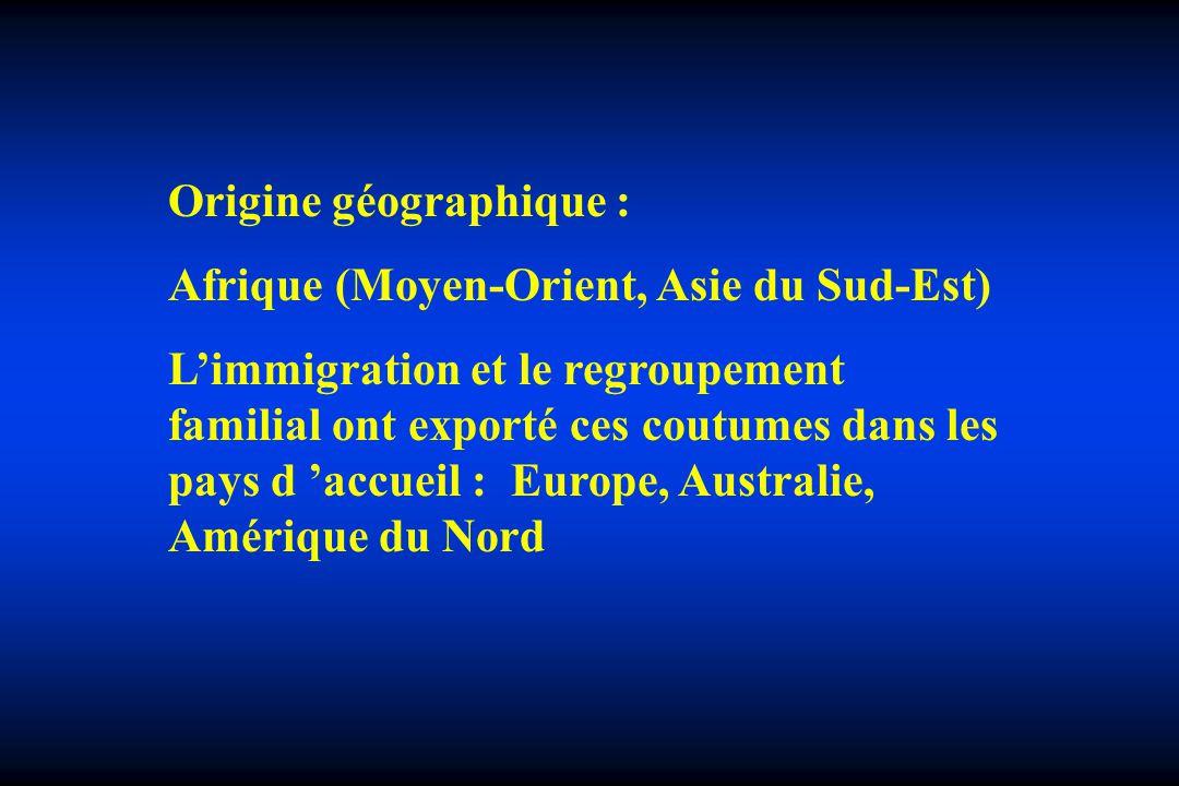 Origine géographique : Afrique (Moyen-Orient, Asie du Sud-Est) Limmigration et le regroupement familial ont exporté ces coutumes dans les pays d accue