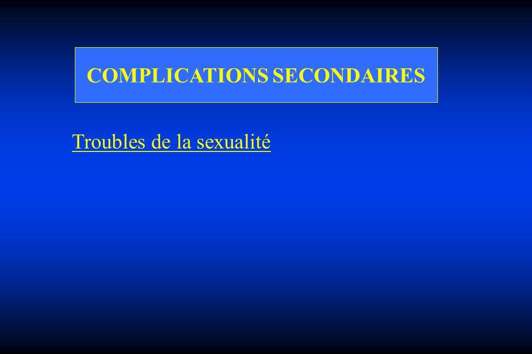 COMPLICATIONS SECONDAIRES Troubles de la sexualité