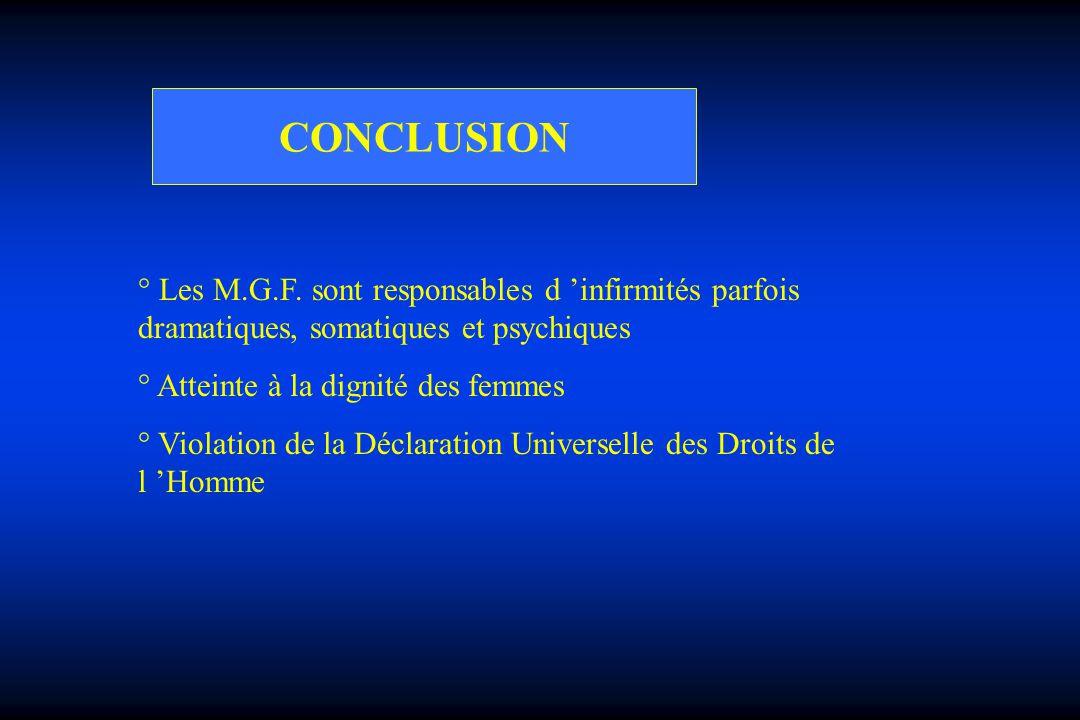 CONCLUSION ° Les M.G.F. sont responsables d infirmités parfois dramatiques, somatiques et psychiques ° Atteinte à la dignité des femmes ° Violation de