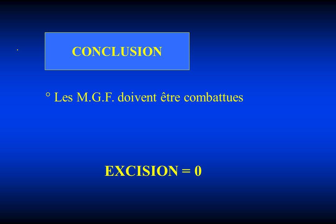 . CONCLUSION ° Les M.G.F. doivent être combattues EXCISION = 0