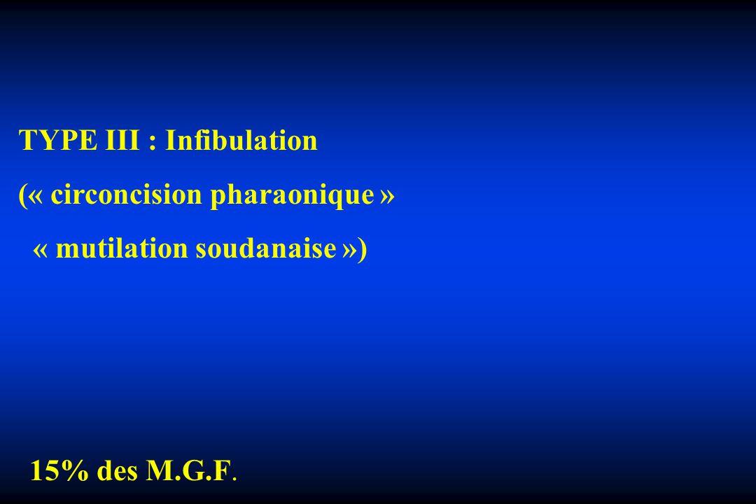 COMPLICATIONS SECONDAIRES Complications psychologiques +++ ° anxiété, dépression, névroses ° infibulation - terreur de la défloration - détestation des rapports conjugaux - hantise de laccouchement