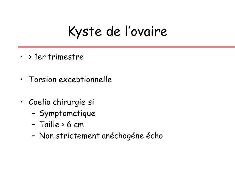 Kyste de lovaire > 1er trimestre Torsion exceptionnelle Coelio chirurgie si –Symptomatique –Taille > 6 cm –Non strictement anéchogéne écho