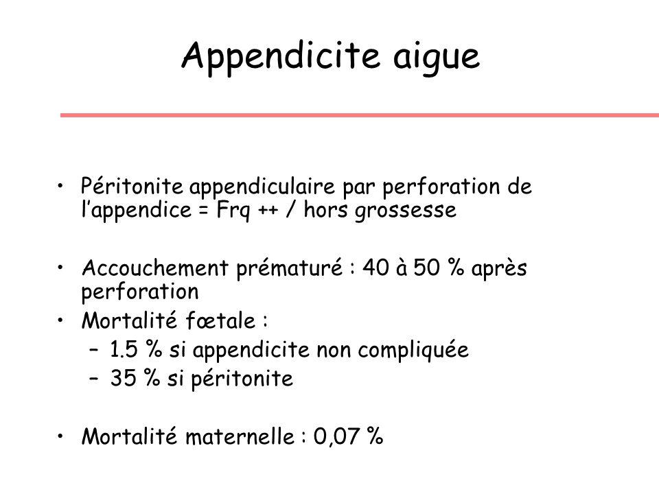 Appendicite aigue Péritonite appendiculaire par perforation de lappendice = Frq ++ / hors grossesse Accouchement prématuré : 40 à 50 % après perforation Mortalité fœtale : –1.5 % si appendicite non compliquée –35 % si péritonite Mortalité maternelle : 0,07 %