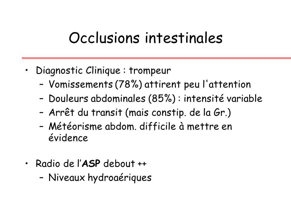 Occlusions intestinales Diagnostic Clinique : trompeur –Vomissements (78%) attirent peu l attention –Douleurs abdominales (85%) : intensité variable –Arrêt du transit (mais constip.