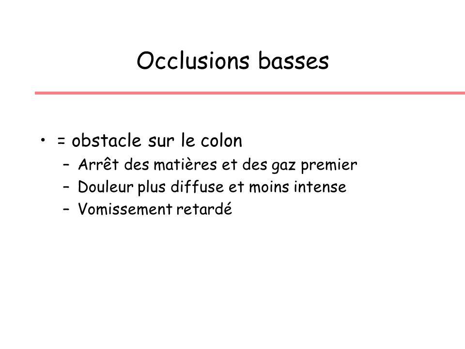 Occlusions basses = obstacle sur le colon –Arrêt des matières et des gaz premier –Douleur plus diffuse et moins intense –Vomissement retardé