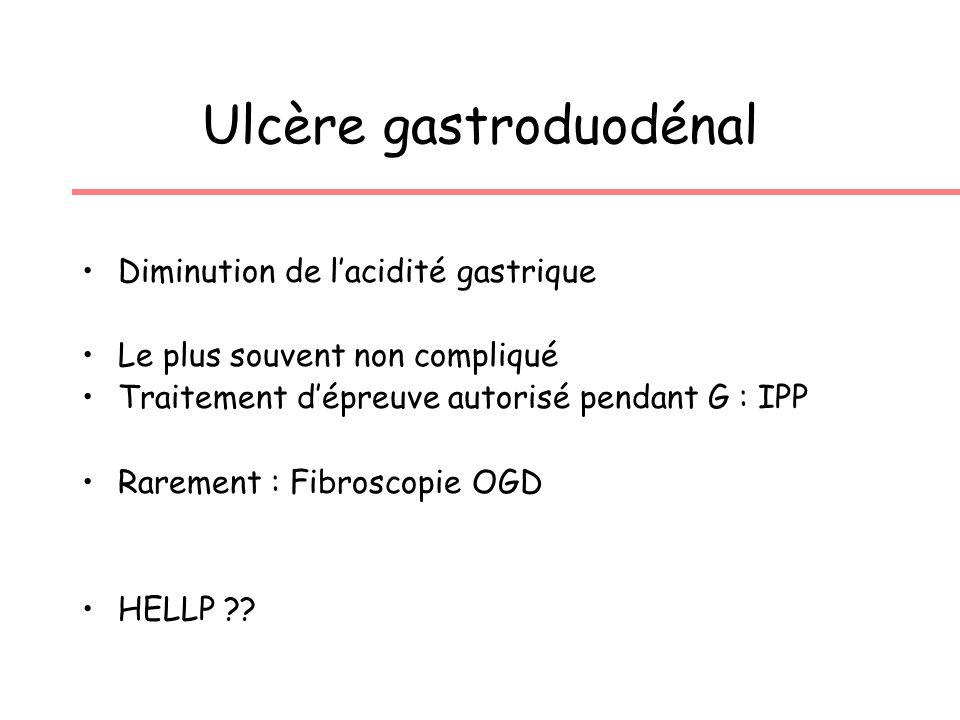 Ulcère gastroduodénal Diminution de lacidité gastrique Le plus souvent non compliqué Traitement dépreuve autorisé pendant G : IPP Rarement : Fibroscopie OGD HELLP ??