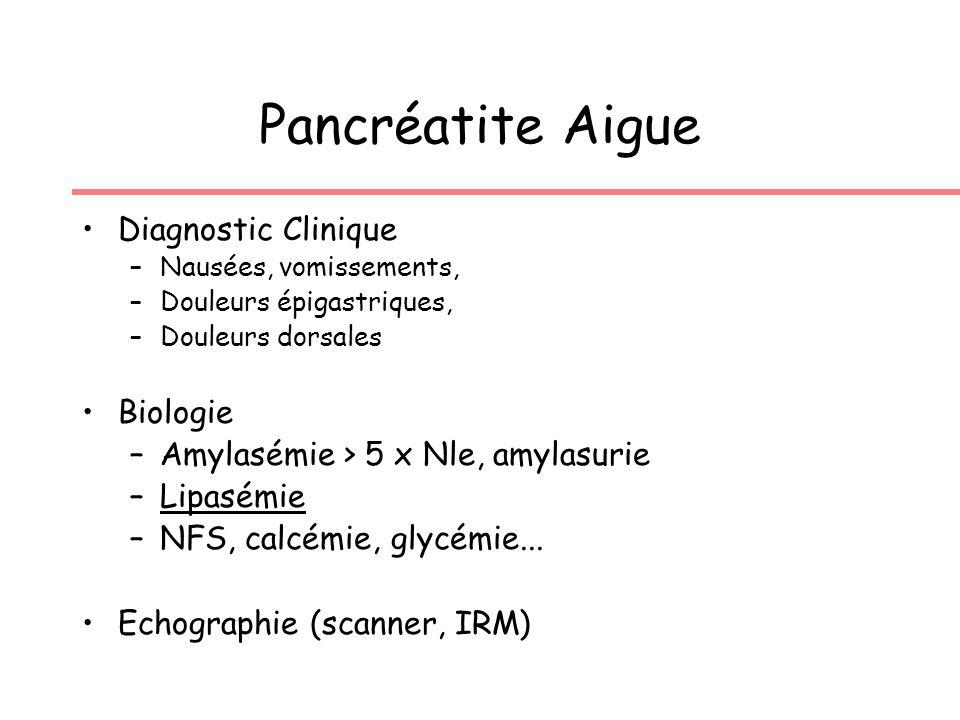 Pancréatite Aigue Diagnostic Clinique –Nausées, vomissements, –Douleurs épigastriques, –Douleurs dorsales Biologie –Amylasémie > 5 x Nle, amylasurie –Lipasémie –NFS, calcémie, glycémie...