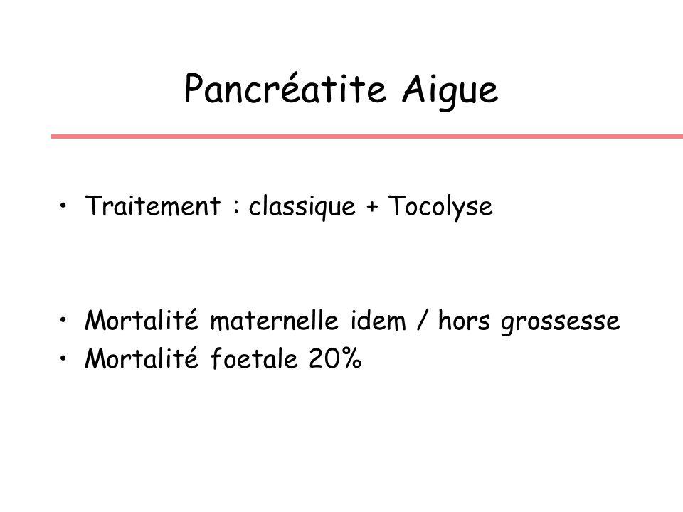 Pancréatite Aigue Traitement : classique + Tocolyse Mortalité maternelle idem / hors grossesse Mortalité foetale 20%
