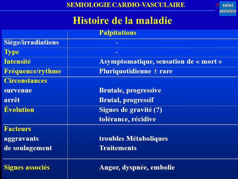 SEMIOLOGIE CARDIO-VASCULAIRE Palpitations Siège/irradiations - Type - Intensité Asymptomatique, sensation de « mort » Fréquence/rythme Pluriquotidienn