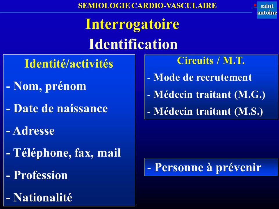 SEMIOLOGIE CARDIO-VASCULAIRE Interrogatoire Identité/activités - Nom, prénom - Date de naissance - Adresse - Téléphone, fax, mail - Profession - Natio