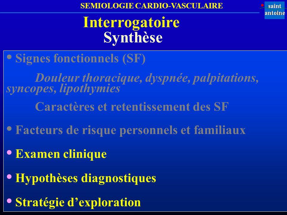 SEMIOLOGIE CARDIO-VASCULAIRE Synthèse Signes fonctionnels (SF) Douleur thoracique, dyspnée, palpitations, syncopes, lipothymies Caractères et retentis