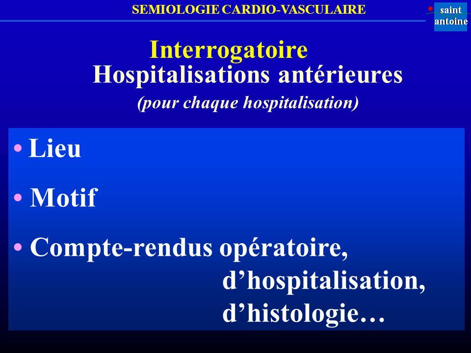 SEMIOLOGIE CARDIO-VASCULAIRE Interrogatoire Hospitalisations antérieures (pour chaque hospitalisation) Lieu Motif Compte-rendus opératoire, dhospitali