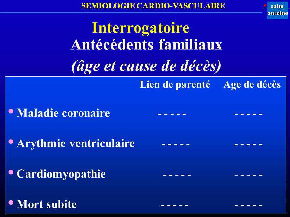 SEMIOLOGIE CARDIO-VASCULAIRE Interrogatoire Antécédents familiaux (âge et cause de décès) Lien de parenté Age de décès Maladie coronaire - - - - - - -