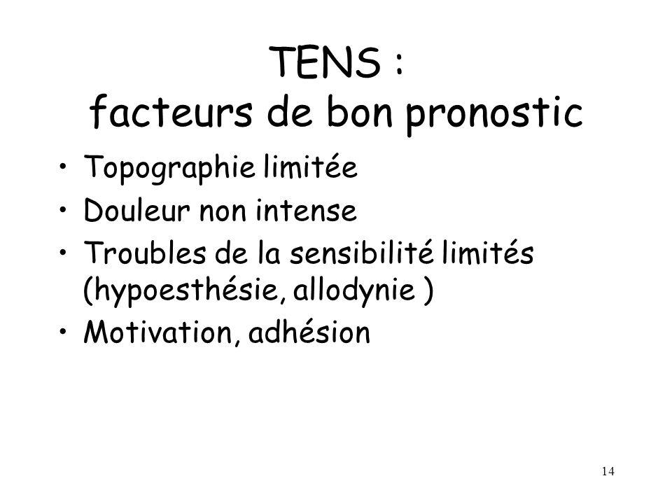 14 TENS : facteurs de bon pronostic Topographie limitée Douleur non intense Troubles de la sensibilité limités (hypoesthésie, allodynie ) Motivation,