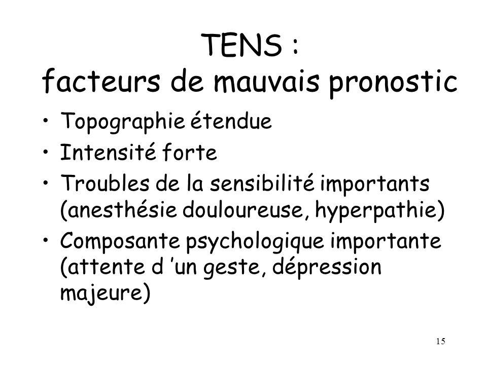15 TENS : facteurs de mauvais pronostic Topographie étendue Intensité forte Troubles de la sensibilité importants (anesthésie douloureuse, hyperpathie