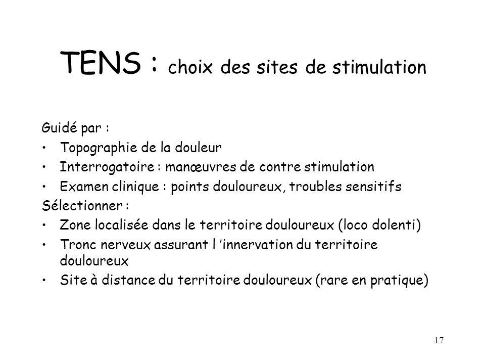 17 TENS : choix des sites de stimulation Guidé par : Topographie de la douleur Interrogatoire : manœuvres de contre stimulation Examen clinique : poin