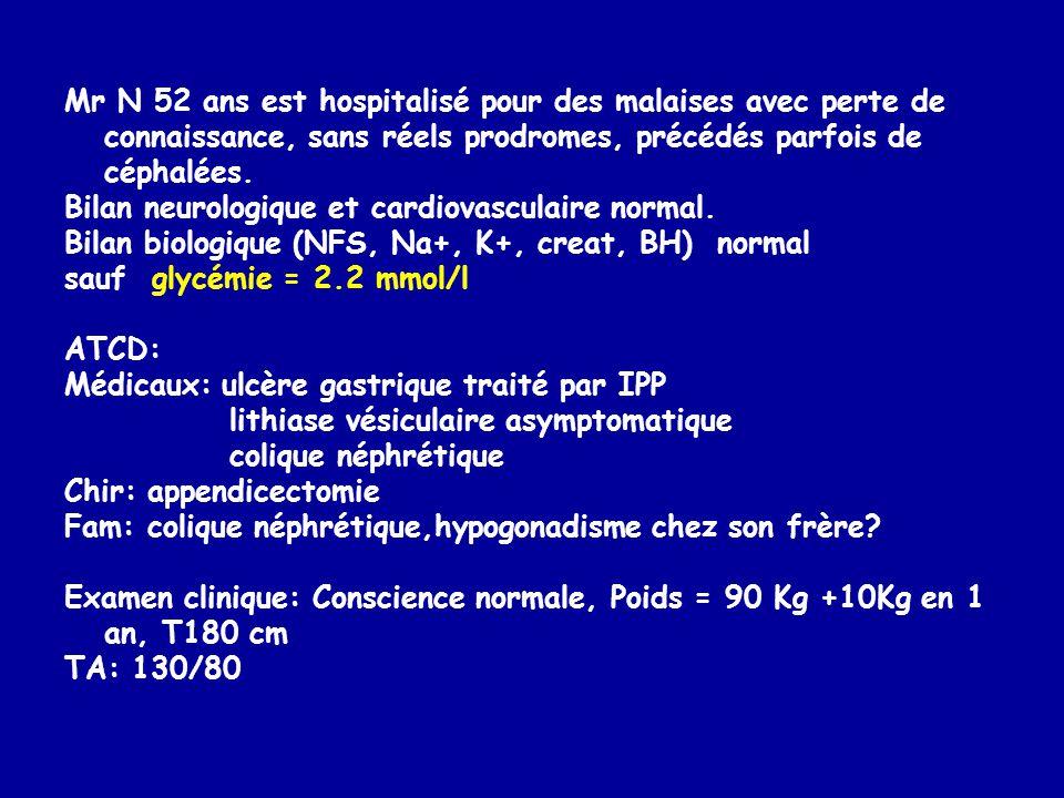 Mr N 52 ans est hospitalisé pour des malaises avec perte de connaissance, sans réels prodromes, précédés parfois de céphalées. Bilan neurologique et c